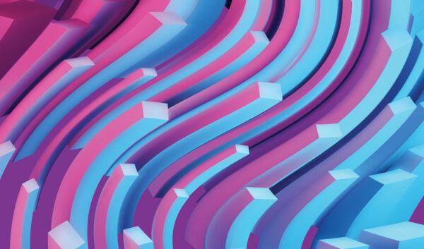 Розово-голубые изогнутые прямоугольники