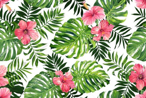 Розовые неоновые и зеленые листья папоротника