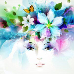 Нарисованное лицо на фоне цветов и бабочек