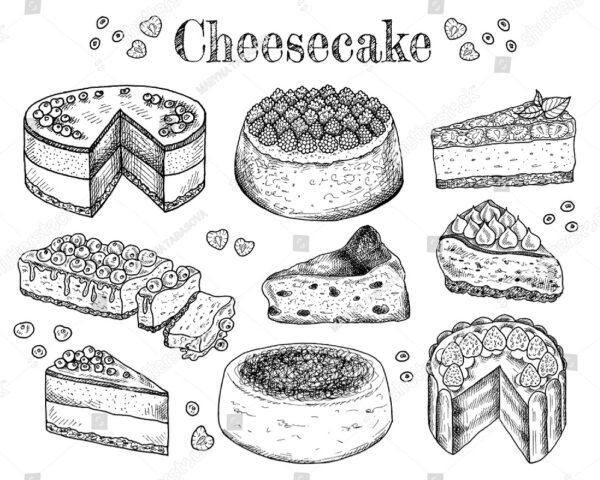 Пироги с творогом нарисованные карандашом