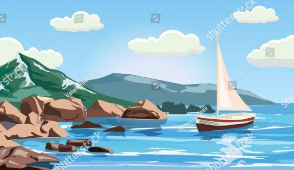 Мультяшный рисунок яхты на фоне леса и гор