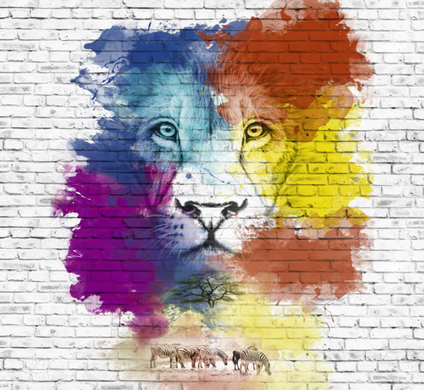 стена со львом