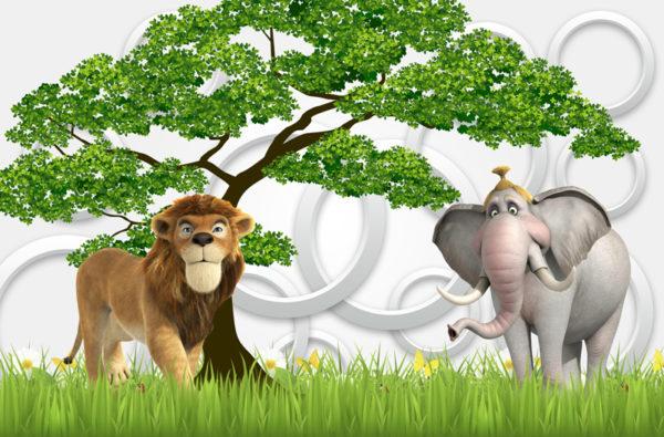 лев и слон