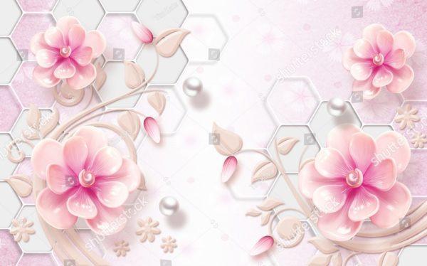 3д розовые цветы