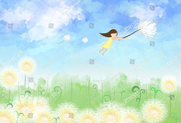 Девочка летящая в небе на цветке