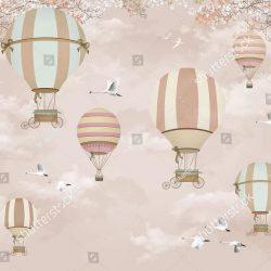 stock-photo--d-wallpaper-design-with-hot-air-balloons-and-birds-for-kids-wall-1317099572