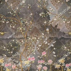stock-photo--d-wallpaper-design-with-vintage-florals-on-grunge-tile-wall-for-photomural-1236494992
