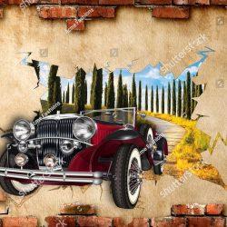 stock-photo--d-wallpaper-vintage-car-breaking-wall-1398608477