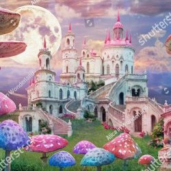 stock-photo-fantastic-landscape-with-mushrooms-beautiful-old-castle-and-moon-illustration-to-the-fairy-tale-1435030877