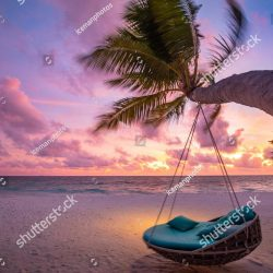 stock-photo-tropical-beach-sunset-landscape-with-beach-swing-or-hammock-and-sunset-sky-white-sand-and-calm-sea-1431566930